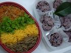三重県津市「地域資源活用研修会」に出品の「にぎやか畑寿司」と「黒米おはぎ」。